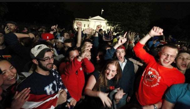 "in laden illuminati. After the announcement of Bin Laden#39;s death, hundreds of people gathered in front of the White House chanting ""USA! USA!""."