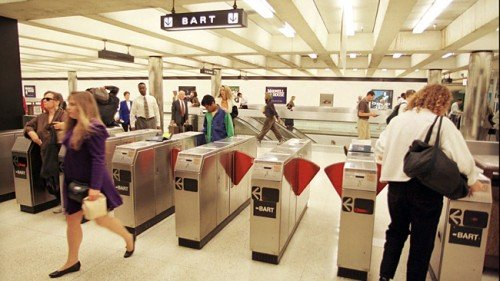 Commuters entering and exiting a Bay Area Rapid Transit station in San Francisco's financial district. Picture: AP