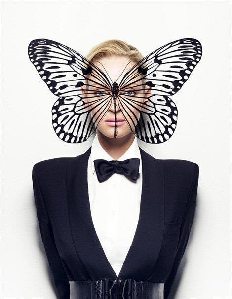 Uma Thurman in Monarch Programming-themed pic. The butterfly is right on the area of the cerebral cortex (memory, attention, perceptual awareness, thought, language, and consciousness). Her lack of limbs represent her powerlessness.