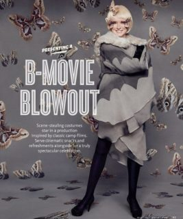 "Martha Stewart (?) with butterflies all around her - including her face - and her persona named ""Motha"""