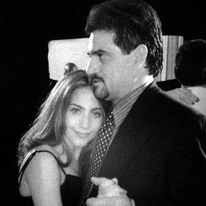 OLD DAYS: The future star at a high-school dance with her father in 2004.