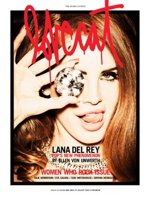 """Pop's new phenomenon"" Lana Del Rey on the cover of Lolcat magazine hiding one eye and showing who she's down with."