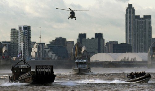 Military exercises on Thames River in London in preparation for the olympics.