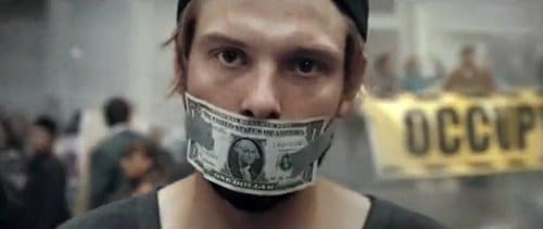 Silencing people with money? That's the new normal? But, on a serious note, is this bank actually catering to the Occupy Wall Street crowd? Which was protesting...big banks? There's some weird mind games going on with this ad. Seems like they shut up that particular protestor, though...