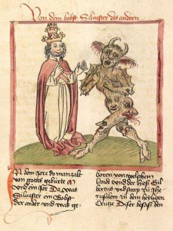 Pope Sylvester II and the Devil (1460). In Christianity, the devil has similar features to the pagan gods described above as they are the main inspiration for these depictions. The attributes embodied by these gods became the representation of what is considered evil by the Church.