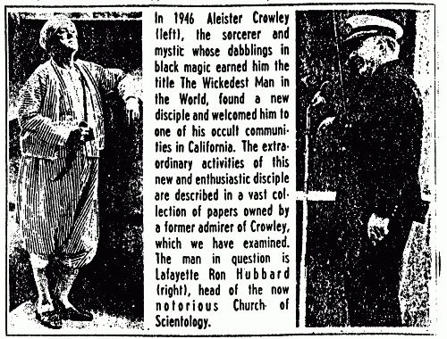 Portion of a 1969 article on the link between Hubbard and Crowley.