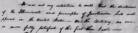 Part of the original letter written by George Washington regarding the Illuminati