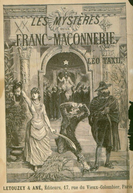 "The Book cover of ""Les mystères de la franc-maçonnerie"" depicting a Masonic ritual presided by Baphomet, who is literally being worshiped."