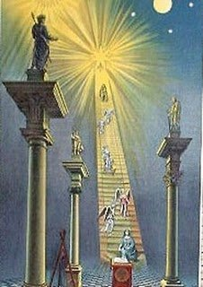 Masonic art portraying Sirius, the Blazing Star, as the destination of the Mason's journey.