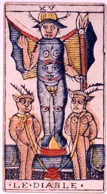 The Devil Card from the Tarot of Marseilles (15th century). This card's depiction of the devil, with its wings, horns, breasts and hand sign is undoubtedly a major influence in Levi's depiction of Baphomet.