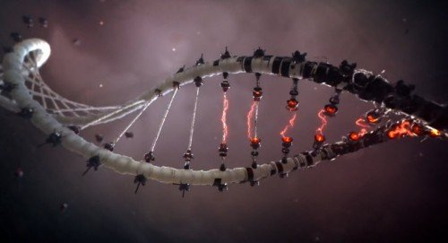 We then see the guy's DNA makeup being transformed into a black, artificial, robotic DNA string.