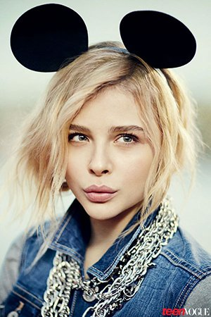 Chloe Moretz in Teen Vogue, sporting the ears but not particularly feeling in a playful mood.