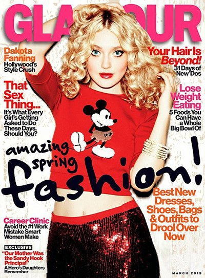 Former child star Dakota Fanning on the cover of Glamour.