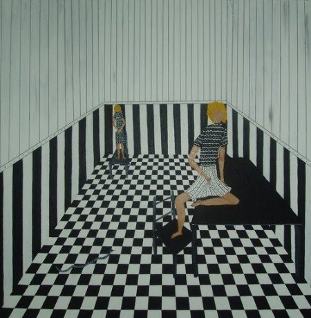 The setting of the above photo shoot is disturbingly similar to a painting made by Monarch Programming survivor Kim Noble (see the article entitled The World of Mind Control Through the Eyes of an Artist with 13 Alter Personas). There are indeed two identical girls (probably alter personas) on a Masonic checkerboard floor and stripped walls. This proves that a lot of imagery in fashion shoots is directly inspired by Monarch Programming and its mind control techniques.