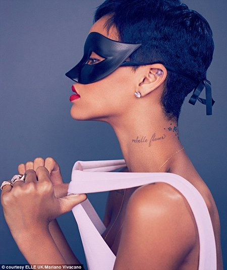 "Another pic of this Elle photoshoot features Rihanna with a masquerade ball mask. A ""trendy"" practice that descends from ancient occult elite rituals."