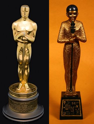 The Oscars took place on February 25th and a bunch of movie people went home with these statuettes. But why do they look that way and where does the name Oscar come from anyway? The Oscar statuette appears to be an art-deco version of the classic depiction of the Egyptian creator god Ptah. In the mythology, Ptah takes the form of the funerary god Sokar and temples were dedicated to Ptah-Sokar. Try switching the first two letters of Sokar. (Hint: it spells Oskar).