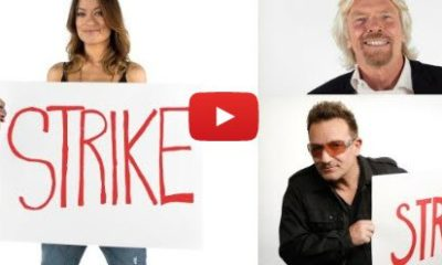 "Bono, Richard Branson, and Olivia Wilde Make Fun of ""Illuminati Conspiracies"" in Ad for Clean Water"