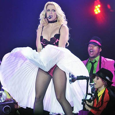 In this stage performance, Britney recreates the iconic flowing dress Monroe moment.