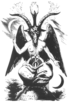 This famous depiction of Baphomet depicts all of the behind S Magick - the rising of the kundalini (represented by the phallic pole and two serpents) through the union of opposite forces. The torch above the goat head represents illuminatation.
