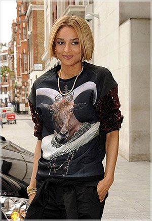 Ciara walking around with a big Baphomet head on her shirt. That's apparently how she rolls now.