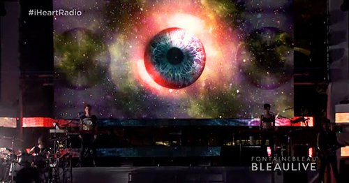 Planet earth turned into a giant eye-ball, as if saying that the Illuminati controls the world.