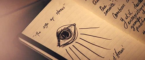 "The researcher investigating the origins of the Four Horsemen and the Eye drew this in her notepad and wrote above it ""Eye of Horus""."
