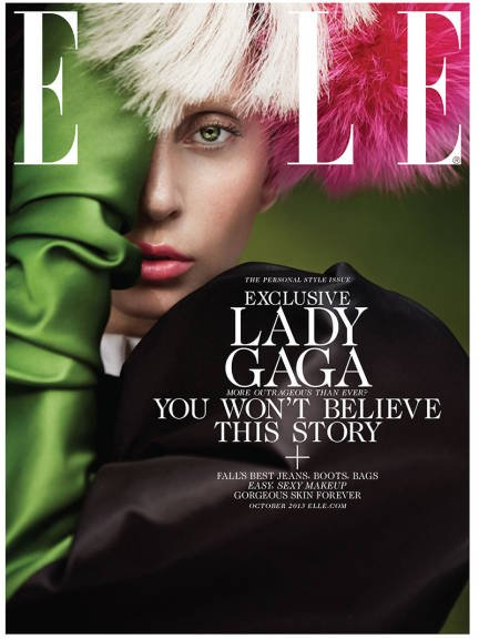 Cyrus is defienitly NOT the only celeb that did the one eye thing in the past weeks. Here's Lady Gag on the cover of ELLE.