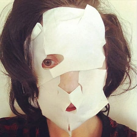 Gaga posted this on Instagram. Apparently its a mask she did. A one-eyed mask. Why? Because Illuminati.
