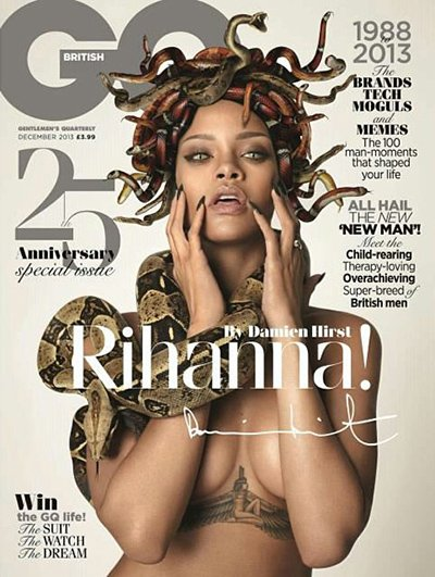 Rihanna on the cover of British GQ as a repitilian-eyed Medusa-type character with snakes instead of hair.