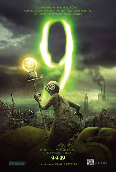The movie poster depicts 9 with his electric torch. Note that the release date of the movie was 09-09-09, a nod to occult numerology and one of the movie's many flirts with the number of the beast, 666.