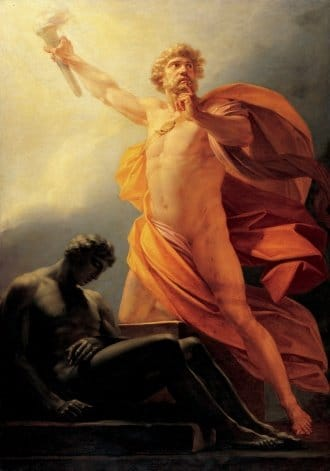 """Prometheus Brings Fire"" by Heinrich Friedrich Füger."