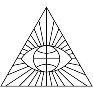 This icon clearly represents the ultimate Illuminati symbol: the All-Seeing Eye, surrounded by glory, inside a triangle.