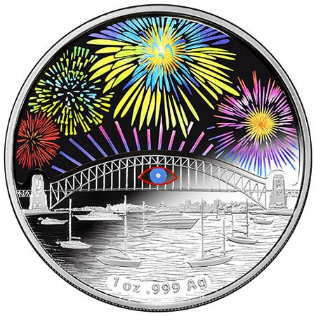 This coin was issued by the Royal Australian Mint to commemorate the 2014 New Year's Eve. Once again, its all about that Eye.