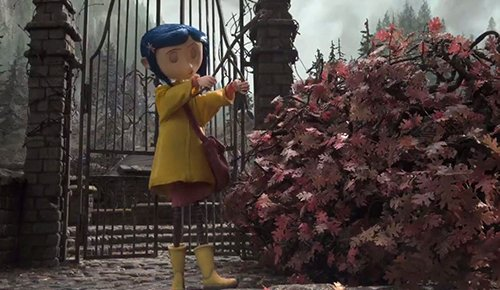 Coraline looking for a secret well using her dowsing rod.