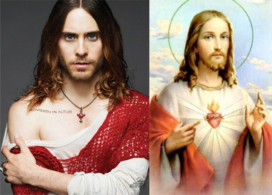 Here's Jared trying hard to look like Jesus. Can someone maybe send a memo to Jared, Beyoncé and Kanye to let them know that they are NOT Jesus? They seem confused about that. But seriously, this simply goes with the Agenda of de-holifying and humanizing Christianity in mass media.