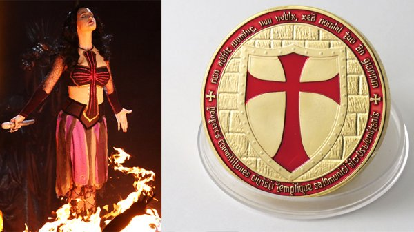 The glowing red cross on Perry's dress is very similar to the red cross of the Knights Templar.