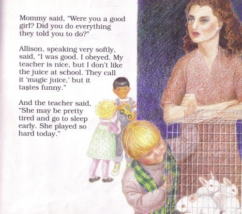 "This vignette refers to a ""magic juice"" given by the teacher which implies that children are being drugged at the daycare. The image depicts white rabbits in a cage which represent the children themselves. Also, these rabbits might be used to show children what would happen if they break the ""circle of trust"". In other words, they probably hurt the rabbits in front of the children."