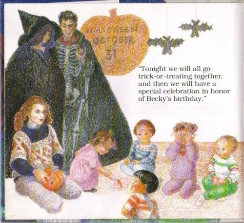 "On the day of Halloween (aka the day of Samhain which is believed to be a day where the veil with the spirit world is at its thinnest), the teachers are dressed as a witch and a skeleton. ""Becky's birthday"" will actually be an occult ritual."