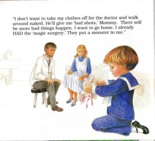 "The child here refers again to abuse coded as ""magic surgery"". The ""monster"" in the child is probably refers to the fact that victims of SRA are assigned to demons during trauma."