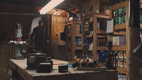 Mr Dover's basement is a well-organized stockpile of supplies of food, tools, weapons and even gas masks.