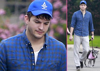 Here's Ashton Kutcher wearing a Masonic hat. That is all.