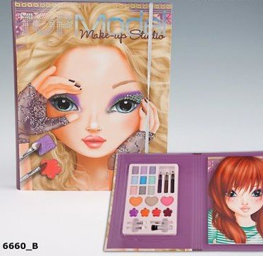 "This book entitled ""Top Model Make-up Studio"" teaches kids how to put on make-up. And also the one-eye thing."