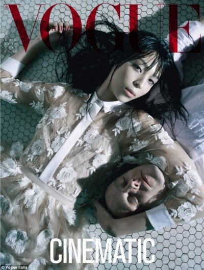 """Vogue Italia's photoshoot entitled """"Cinematic"""" features something the fashion world LOVES to do: Combining designer clothes with violence, death, abuse and dehumanization. Here's a model posing with a dead guy."""