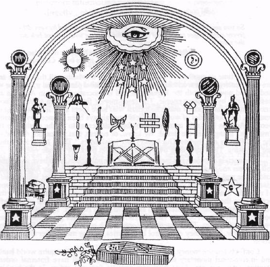 Many of the symbols found in this Masonic image are found on the Billboard awards stage.
