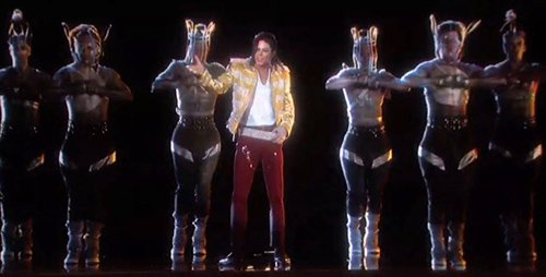 Some of MJ's backup dancers wear cages around their heads, proving that people working in this music industry are literal slaves to the rhythm.