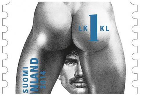 In Finland, this is a stamp that you can stamp on envelopes. It celebrates Tom of Finland, an artist known for his homoerotic fetish art. Other than the fact that this not the kind of stamp you want little Timmy to have in his stamp collection, it is also a big one-eyed salute.