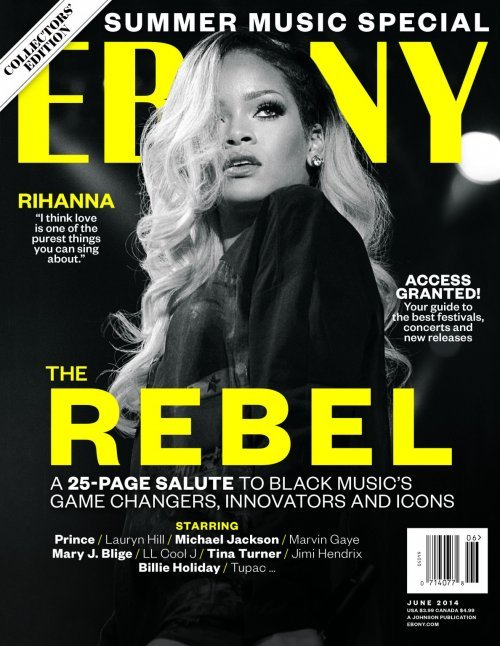 "Apparently, Rihanna is the ""rebel"" ... probably because he does exactly what she is told by her handlers.  In this case, she was told to stand still while her hair hides one eye."