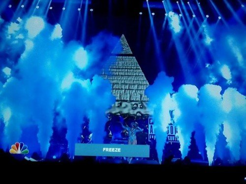 "Speaking of pyramid and all-seeing eye, Miley Cyrus's ""Bangerz tour"" was broadcast during primetime on NBC. At one point, a giant Illuminati pyramid appears from nowhere. The presence of Illuminati symbolism is truly everywhere."