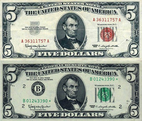 "A comparison of a ""United States Note"" as issued by Kennedy (top) and a regular ""Federal Reserve Note"". Notice that the banner at the very top says ""United States Note"" instead of Federal Reserve Note"". Also, the ""B"" logo of the Federal Reserve does not appear on the United States Note."