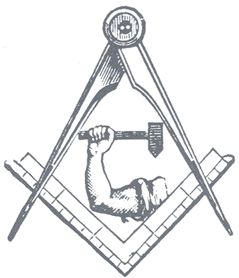 "In Freemasonry, the symbol of the arm and hammer represents  arm and hammer represents the Mason as the Builder, as ""man at work"" creating the heavens and the earth. Thus, man becomes God."
